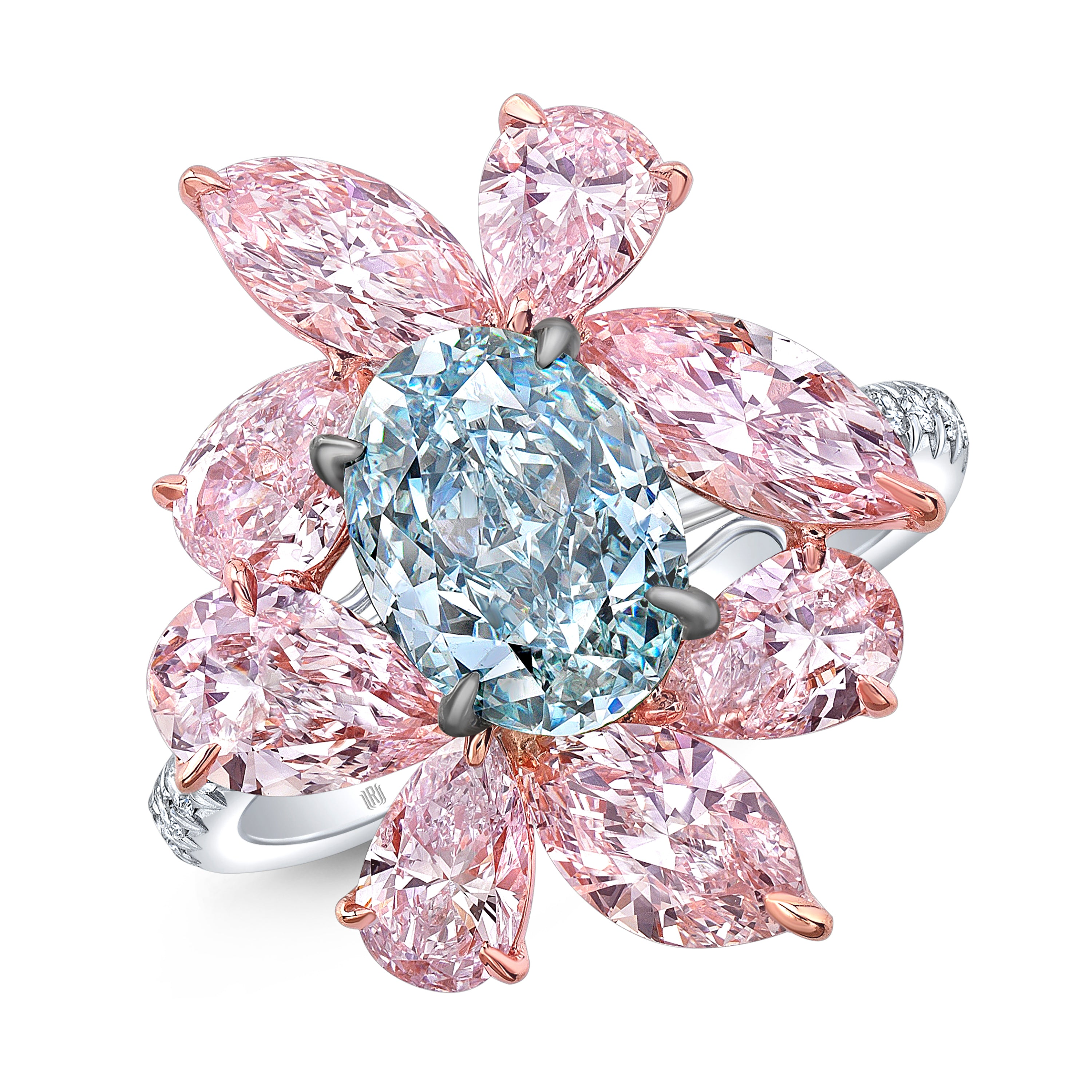 Fancy Blue and Pink Diamond Flower Ring