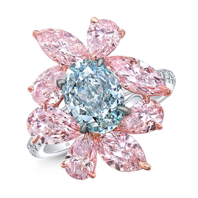 Fancy Blue and Pink Diamond Flower Ring - Jackson Hole Jewelry Company