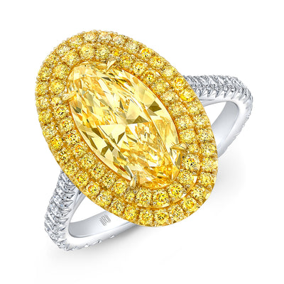 Natural Fancy Intense Yellow Moval Double Halo Ring - Jackson Hole Jewelry Company