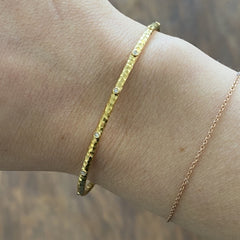 14k Marika Desert Gold Stackable Cuff with Bezeled Diamonds - Jackson Hole Jewelry Company