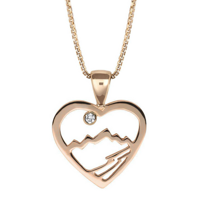 Small 14KY Gold Teton Heart Pendant - Jackson Hole Jewelry Company
