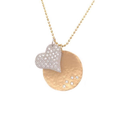 Julez Bryant 14k Yellow Gold Large Megg Pendant with Medium Lava Charm - Jackson Hole Jewelry Company