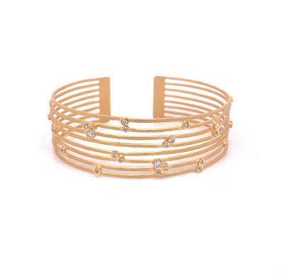 14k Marika Desert Gold Multi Bar Cuff Bracelet with Diamonds - Jackson Hole Jewelry Company