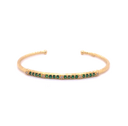 14k Marika Desert Gold Stackable Cuff with Pavé Diamonds and Green Tsavorite - Jackson Hole Jewelry Company