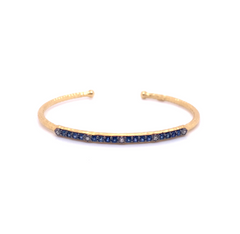 14k Marika Desert Gold Stackable Cuff with Pavé Diamonds and Blue Sapphire - Jackson Hole Jewelry Company