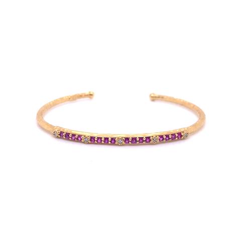 14k Marika Desert Gold Stackable Cuff with Pavé Diamonds and Pink Sapphire - Jackson Hole Jewelry Company