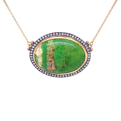 14k Marika Desert Gold Persian Turquoise Necklace with Diamonds - Jackson Hole Jewelry Company