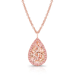 Natural 3 Carat Fancy Pink Pear Shaped Necklace