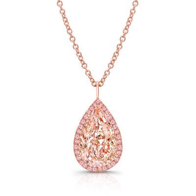 Natural 3 Carat Fancy Pink Pear Shaped Necklace - Jackson Hole Jewelry Company