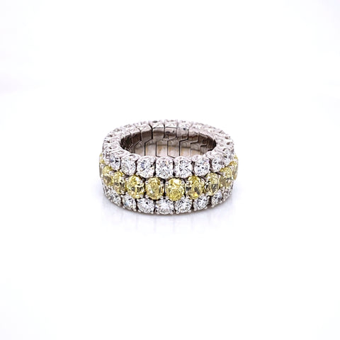 Picchiotti Xpandable™ Three Row Round Cut Yellow and White Diamond Eternity Ring - Jackson Hole Jewelry Company