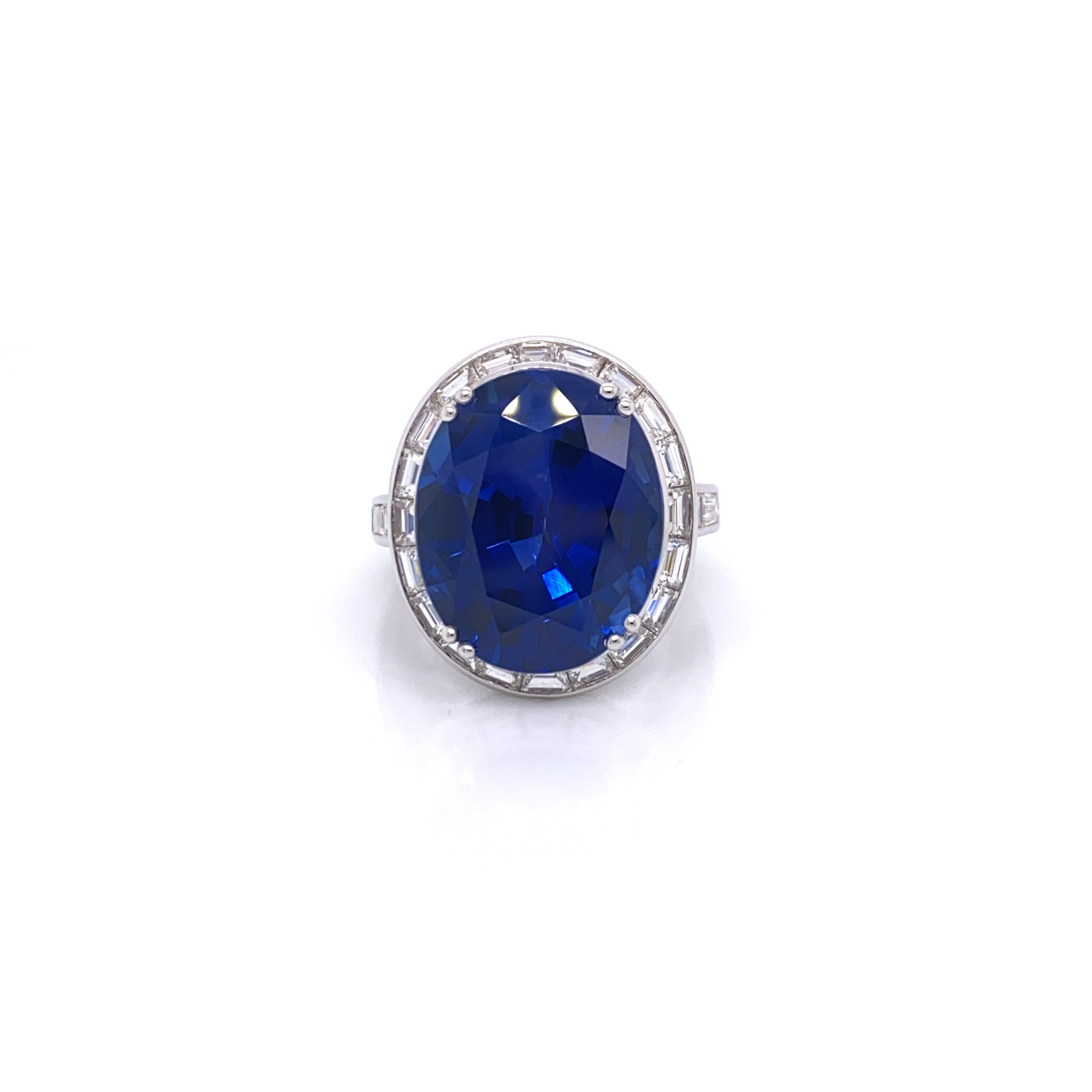 Picchiotti Oval Blue Sapphire and Baguette Diamond Ring