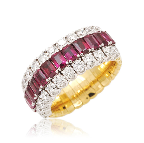 Picchiotti Xpandable™ Three Row Ruby and White Round Diamond Eternity Ring