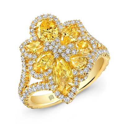 Natural Fancy Intense Yellow Diamond  Flower Ring - Jackson Hole Jewelry Company