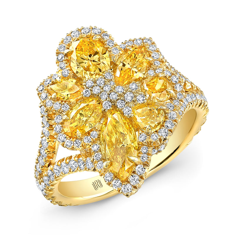 Natural Fancy Intense Yellow Diamond  Flower Ring