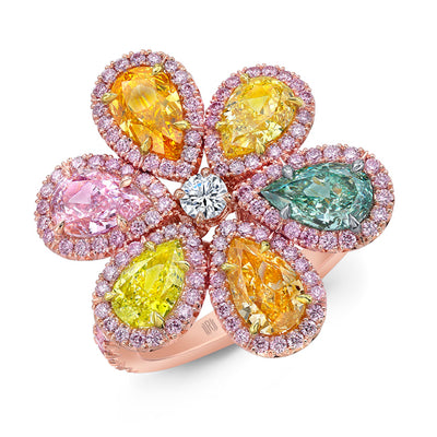 Natural Multicolored Diamond Flower Ring - Jackson Hole Jewelry Company