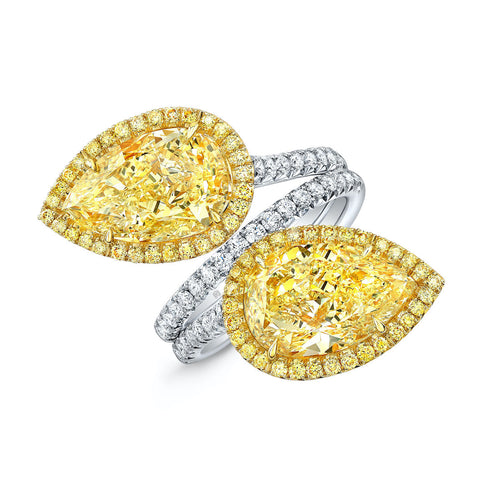 Natural Fancy Yellow Diamond Pear Shaped Bypass Ring - Jackson Hole Jewelry Company