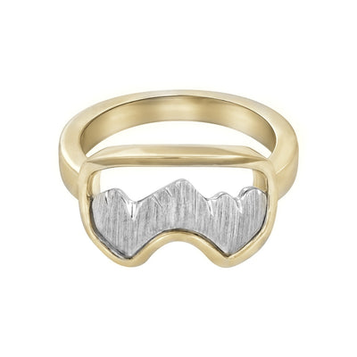 14K White and Yellow Gold Teton Ski Goggle Ring - Jackson Hole Jewelry Company