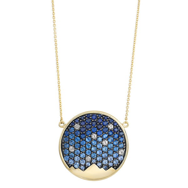 St. Jude Moonlight on the Mountains 18 Karat Sapphire Pavé Necklace
