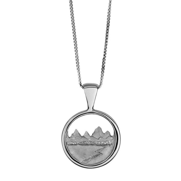 Classic Medium Teton Carved Circular Pendant - Jackson Hole Jewelry Company  - 2