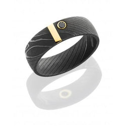 Damascus Steel Band with 14K Yellow Gold Vertical inlay and .07ct Black Diamond
