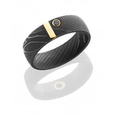 Damascus Steel Band with 14K Yellow Gold Vertical inlay and .07ct Black Diamond - Jackson Hole Jewelry Company