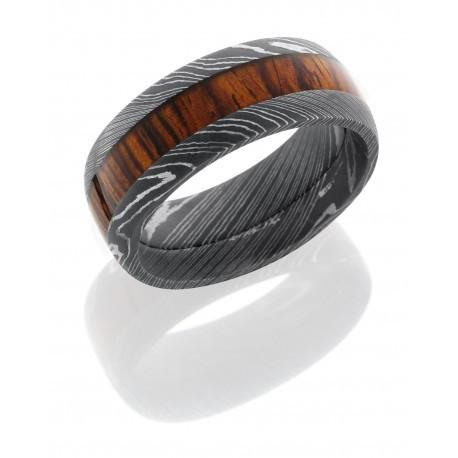 Damascus Steel Mexican Cocobollo Wood inlay Band