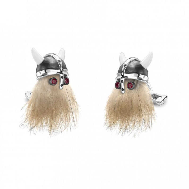 D&F Hairy Viking Skull with Black Helmet and Ruby Eye Cufflinks