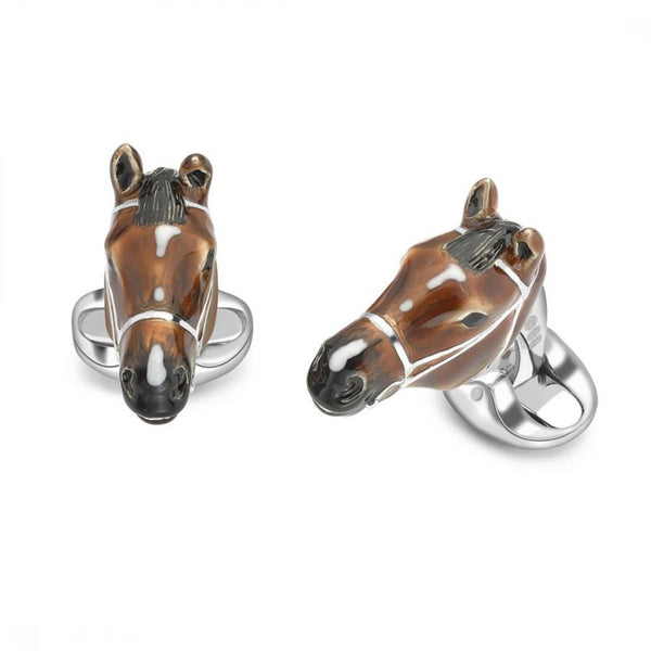 D&F Sterling Silver Brown Horse Head Cufflinks