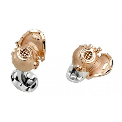 D&F Sterling Silver Diving Helmet Cufflinks - Jackson Hole Jewelry Company