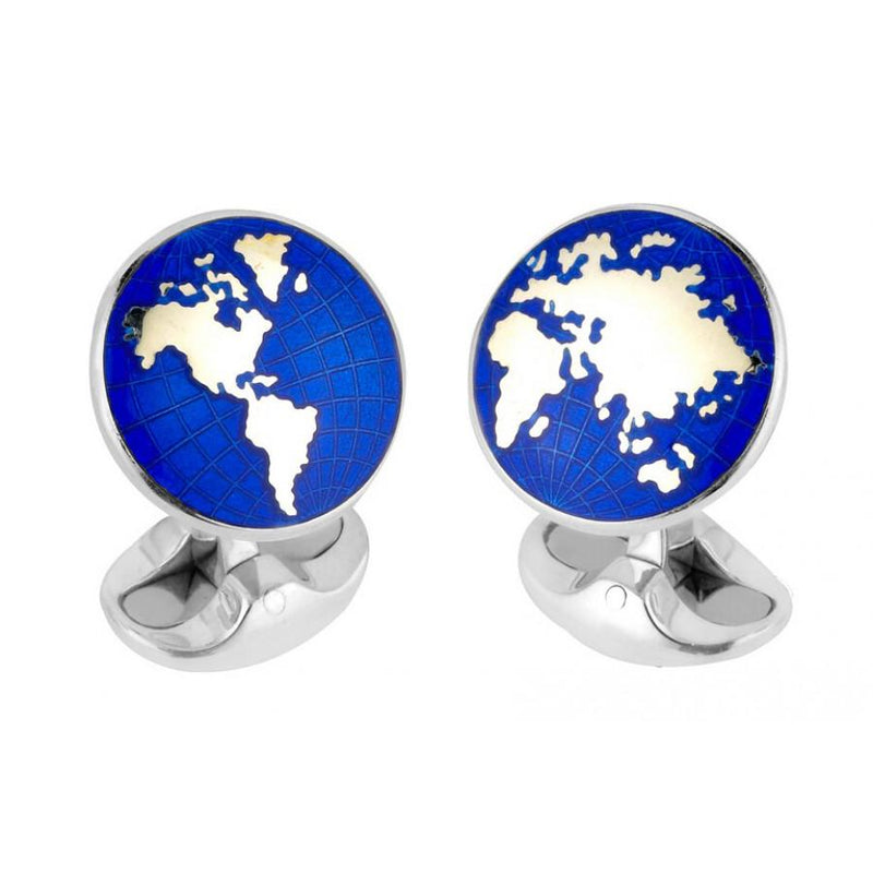 D&F Sterling Silver Enamel World Cufflinks