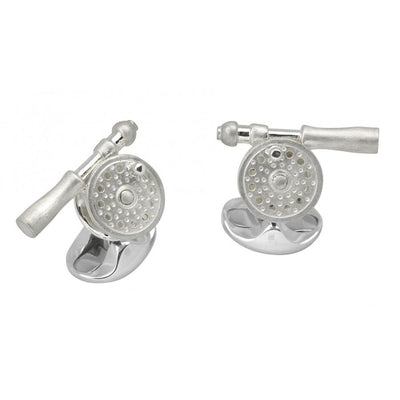 D&F Sterling Silver Fly Fishing Reel Cufflinks - Jackson Hole Jewelry Company