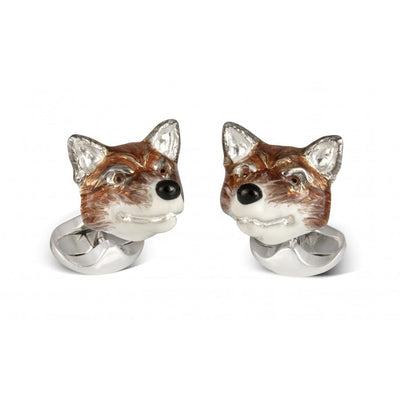 D&F Sterling Silver Fox Head Cufflinks - Jackson Hole Jewelry Company