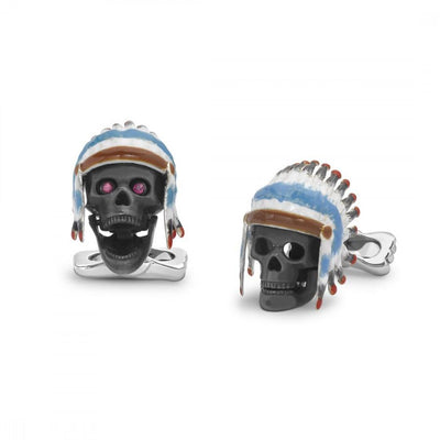 D&F Sterling Silver Native American Skull Cufflinks - Jackson Hole Jewelry Company
