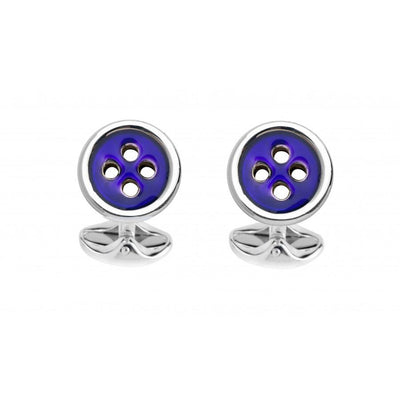 D&F Sterling Silver Navy Blue Button Cufflinks - Jackson Hole Jewelry Company