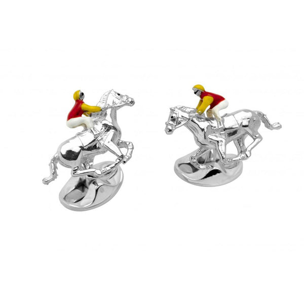 D&F Sterling Silver Red and Yellow Horse & Jockey Cufflinks