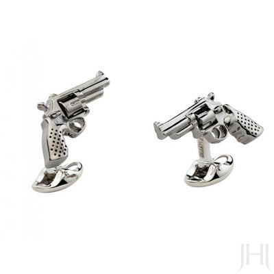 D&F Sterling Silver Revolver Gun Cufflinks - Jackson Hole Jewelry Company
