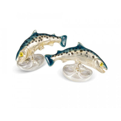 D&F Sterling Silver Salmon Cufflinks - Jackson Hole Jewelry Company
