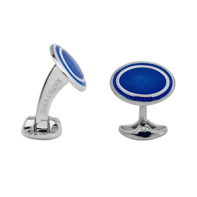 D&F Sterling Silver White and Royal Blue Enamel Cufflinks - Jackson Hole Jewelry Company