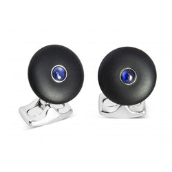 D&F 'The Brights' Black Round Cufflinks with Sapphire Centre