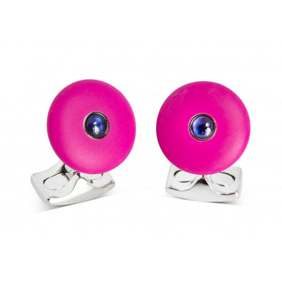 D&F 'The Brights' Hot Pink Round Cufflinks with Sapphire Centre - Jackson Hole Jewelry Company