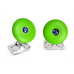 D&F 'The Brights' Lime Green Round Cufflinks with Sapphire Centre