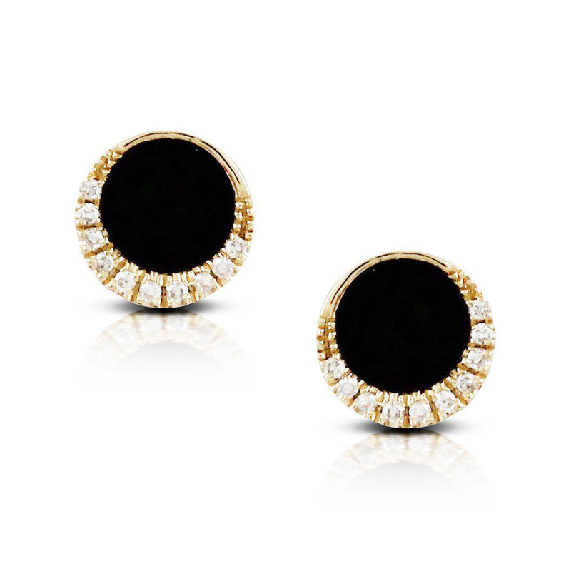 Doves 14K Yellow Gold Gatsby Black Onyx Post Earrings