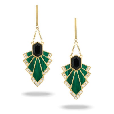Doves 18K Yellow Gold Black Onyx & Malachite Cascading Earrings - Jackson Hole Jewelry Company