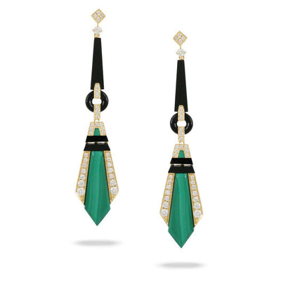 Doves 18K Yellow Gold Black Onyx & Malachite Earrings - Jackson Hole Jewelry Company