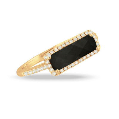 Doves 18K Yellow Gold Gatsby Black Onyx Bar Ring - Jackson Hole Jewelry Company