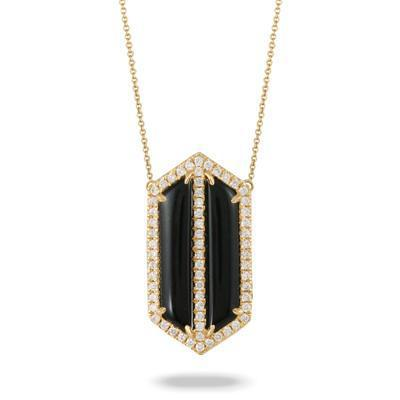Doves 18K Yellow Gold Gatsby Black Onyx & Diamond Necklace - Jackson Hole Jewelry Company