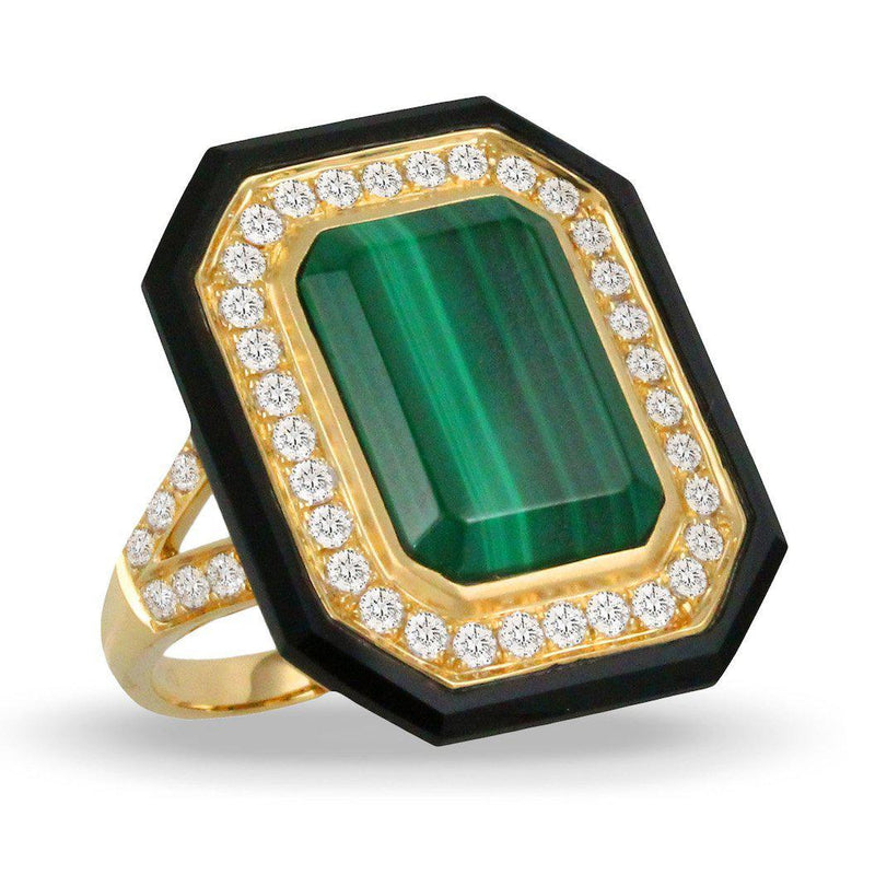 Doves 18K Yellow Gold Malachite & Black Onyx Ring