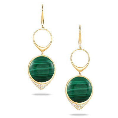 Doves 18K Yellow Gold Malachite Earrings - Jackson Hole Jewelry Company