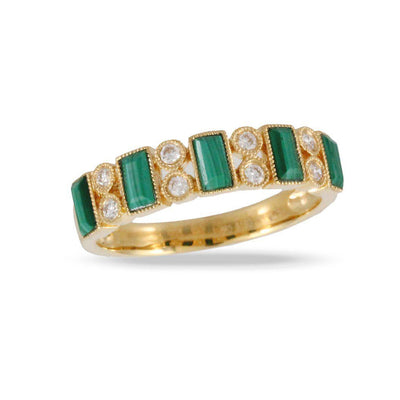 Doves 18K Yellow Gold Malachite Flat Band - Jackson Hole Jewelry Company