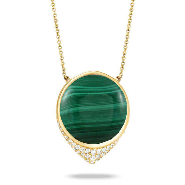 Doves 18K Yellow Gold Malachite Necklace